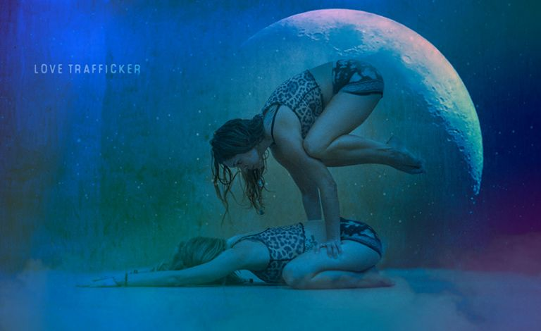 Amanda and Sarah Yoga Pose with Moon